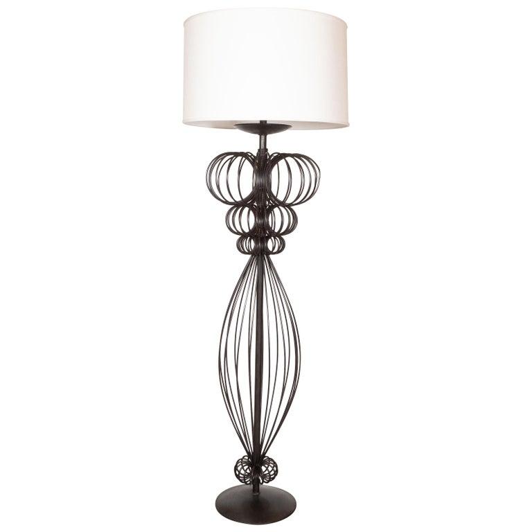 Mid Century Modern Sculptural Black Iron Floor Lamp For