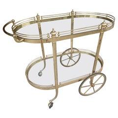 Mid-Century Modern Sculptural Brass Bar Cart, C 1970