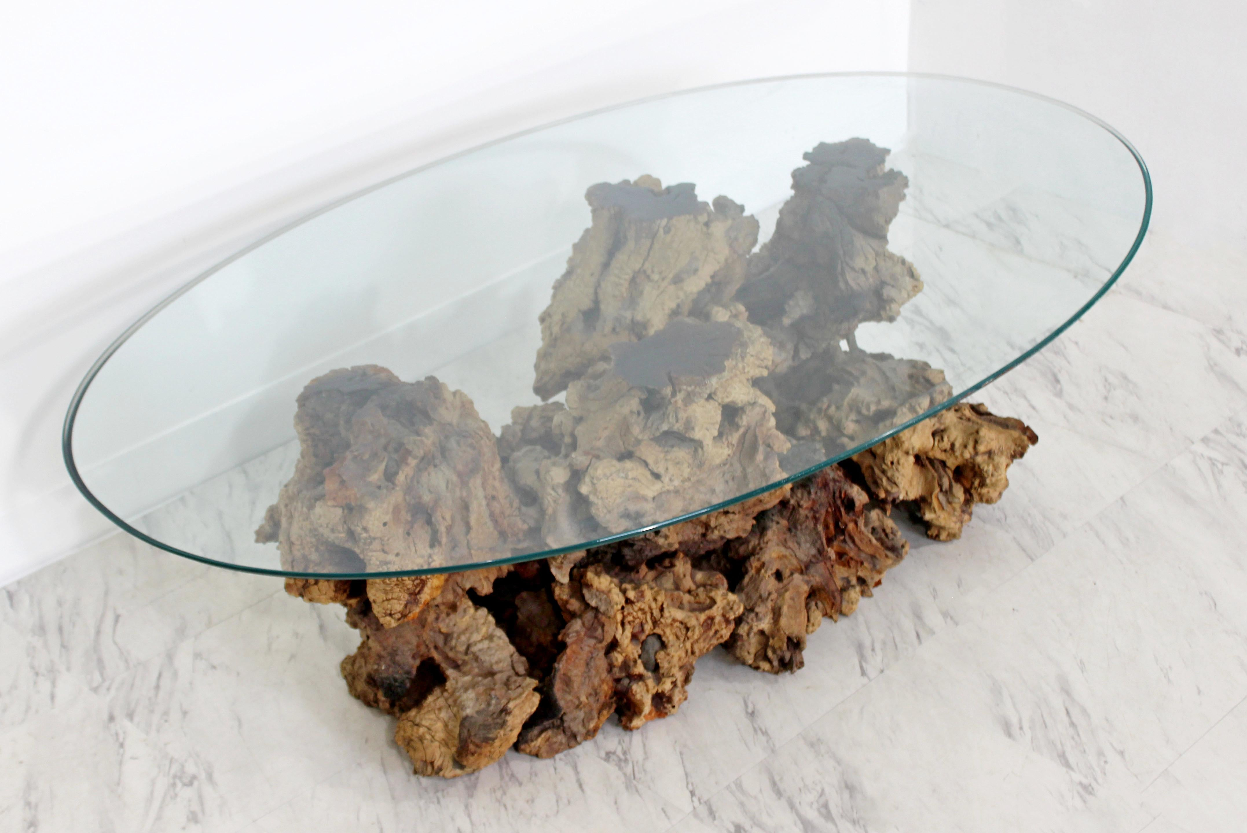 Antiques Mid Century Modern Sculptural Burl Wood Driftwood Tree Trunk Coffee Table 1960s