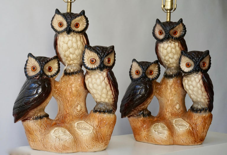 Mid-Century Modern Sculptural Ceramic Owl Lamps, 1970s For Sale 7