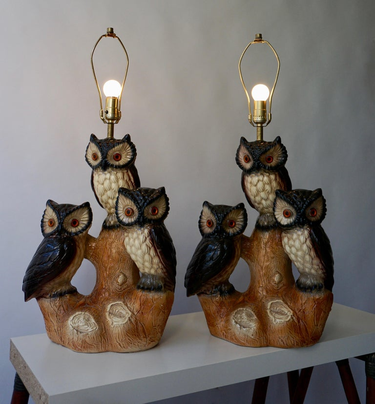 Mid-Century Modern Sculptural Ceramic Owl Lamps, 1970s For Sale 9