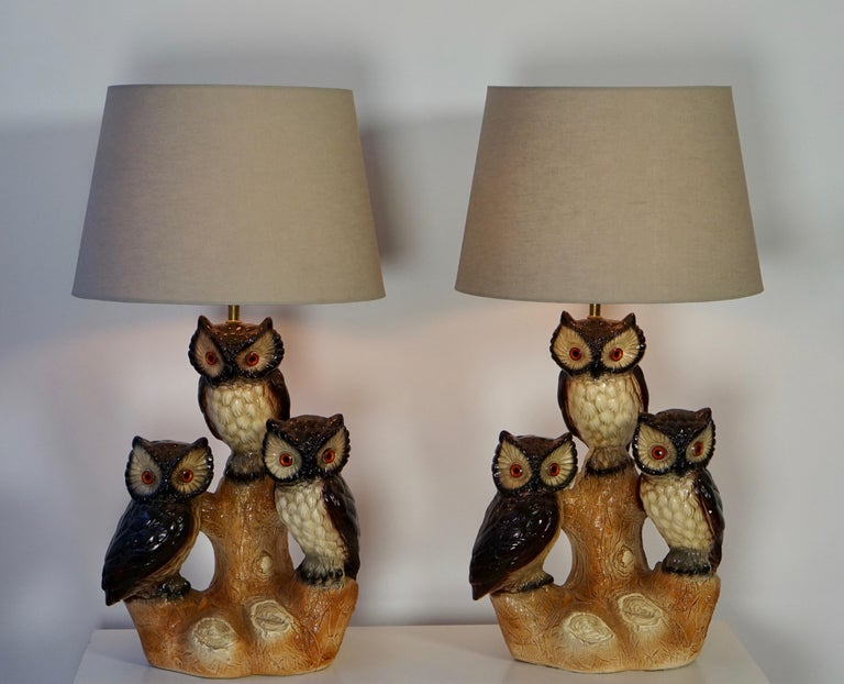 Italian Mid-Century Modern Sculptural Ceramic Owl Lamps, 1970s For Sale