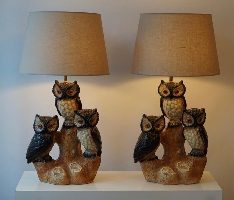 Mid-Century Modern Sculptural Ceramic Owl Lamps, 1970s In Good Condition For Sale In Antwerp, BE