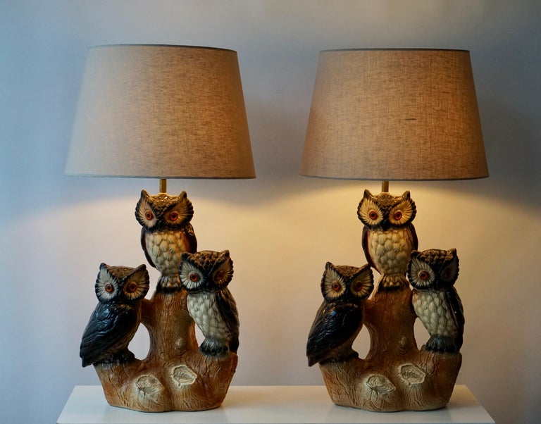 20th Century Mid-Century Modern Sculptural Ceramic Owl Lamps, 1970s For Sale