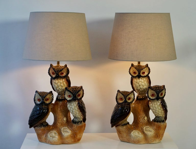 Brass Mid-Century Modern Sculptural Ceramic Owl Lamps, 1970s For Sale