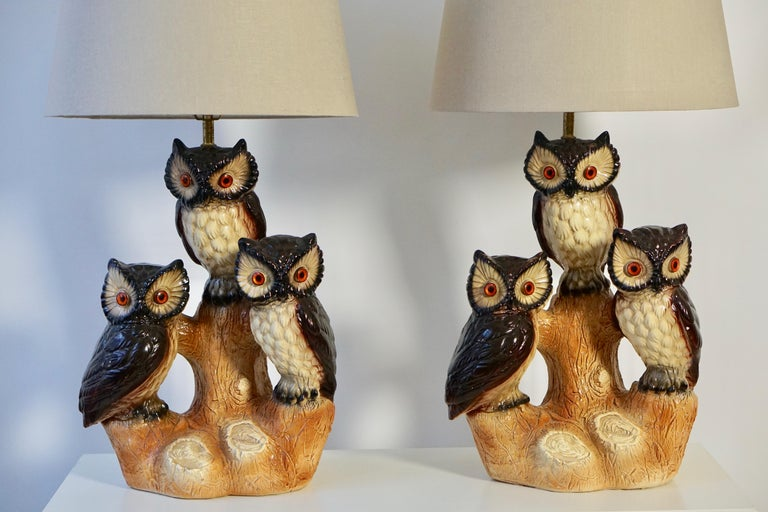 Mid-Century Modern Sculptural Ceramic Owl Lamps, 1970s For Sale 1