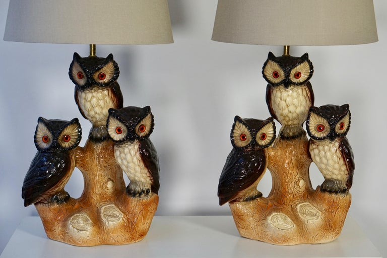 Mid-Century Modern Sculptural Ceramic Owl Lamps, 1970s For Sale 2