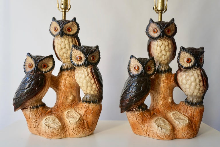 Mid-Century Modern Sculptural Ceramic Owl Lamps, 1970s For Sale 3
