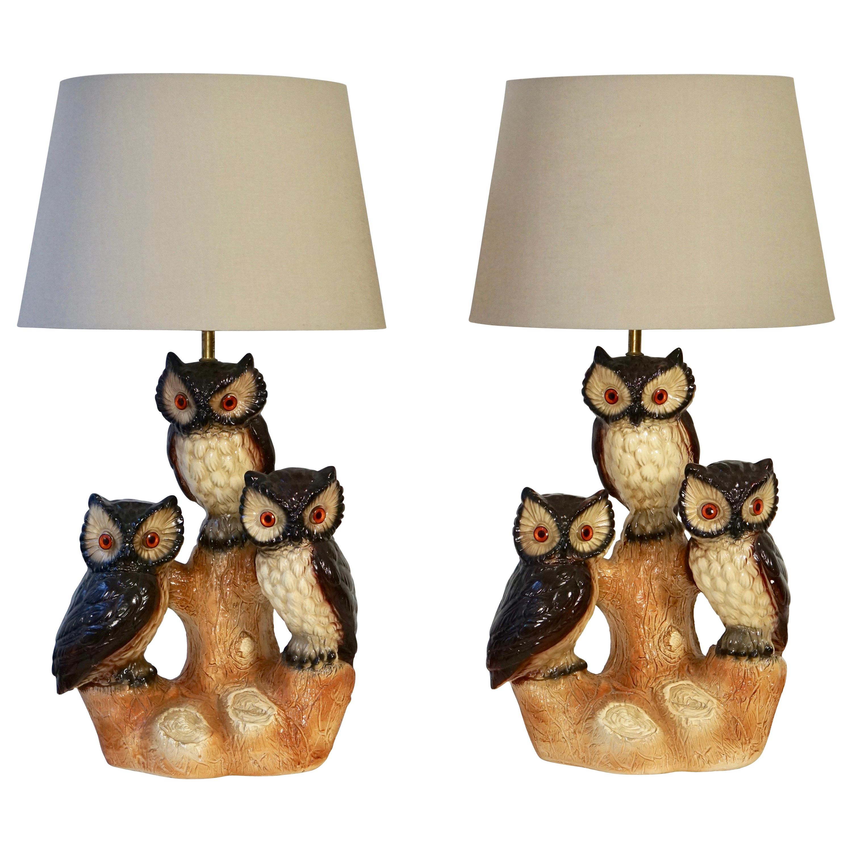 Mid-Century Modern Sculptural Ceramic Owl Lamps, 1970s