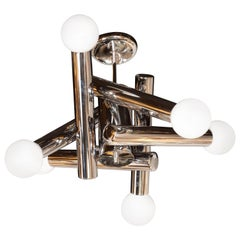 Mid-Century Modern Sculptural Chandelier in Chrome and Frosted Glass by Sciolari