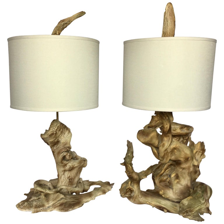 Mid-Century Modern Sculptural Driftwood Table Lamps in Gesso For Sale