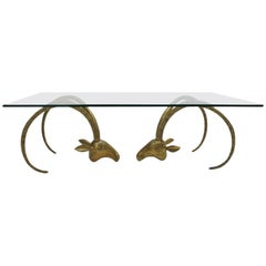Mid-Century Modern Sculptural Glass and Brass American Coffee Table, 1940s