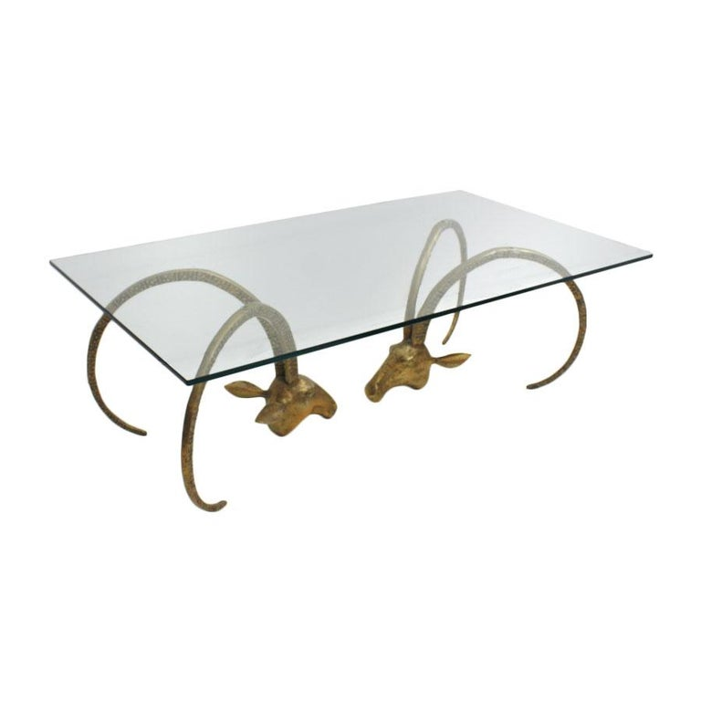 Mid Century Modern Sculptural Glass And Brass United States Coffee Table 1940s