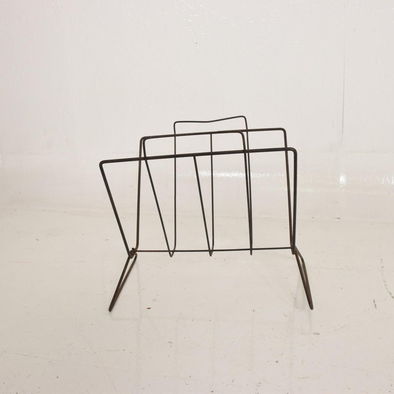 American Mid-Century Modern Sculptural Iron Magazine Rack, Nelson Era For Sale
