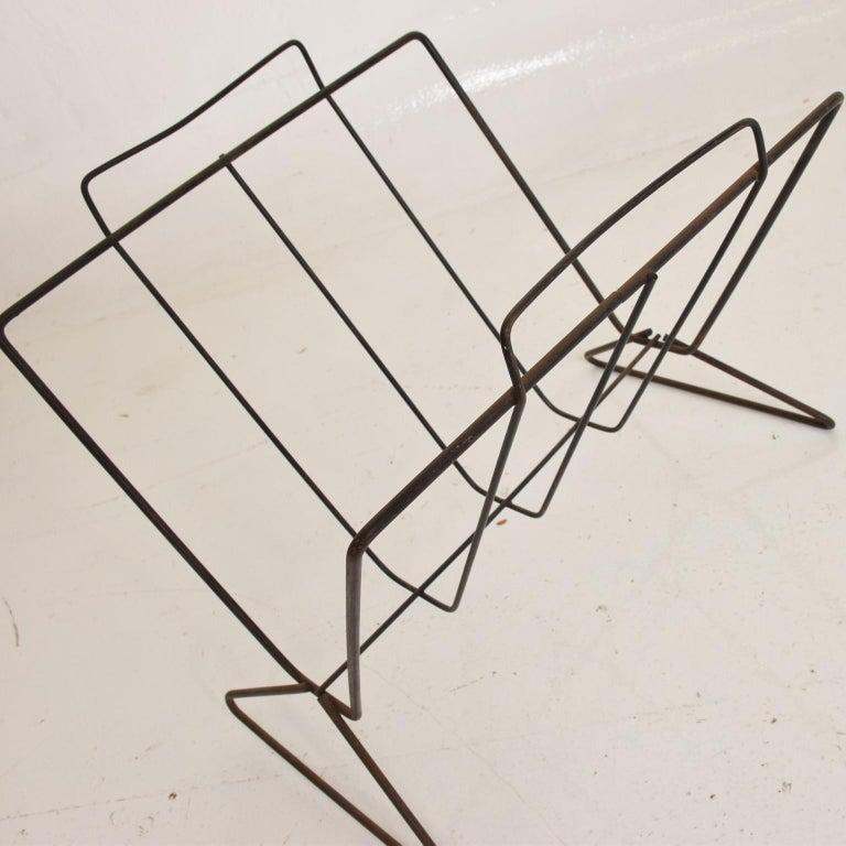 Mid-20th Century Mid-Century Modern Sculptural Iron Magazine Rack, Nelson Era For Sale