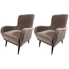 Mid-Century Modern Sculptural Lounge Chairs in Smoked Platinum Mohair