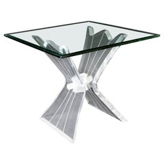Mid-Century Modern Sculptural Lucite Acrylic Glass Side End Table, 1970s