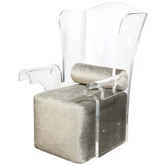 Mid-Century Modern Sculptural Lucite Wing Armchair in Platinum Velvet