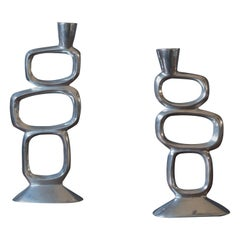 Mid-Century Modern Sculptural Metal Candleholders