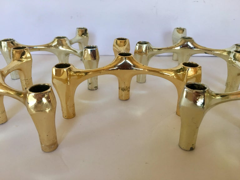 Mid-Century Modern Sculptural Nagel Style Modular Candlestick Holders For Sale 3