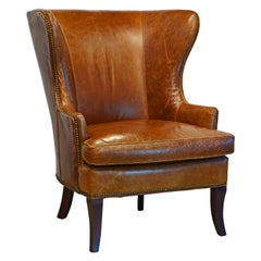 Mid-Century Modern Sculptural Nail Head Trimmed Tanned Leather Wing Chair