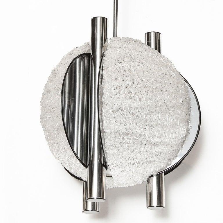 Mid-Century Modern Sculptural Orbital Textured Glass and Nickel Chandelier For Sale 4