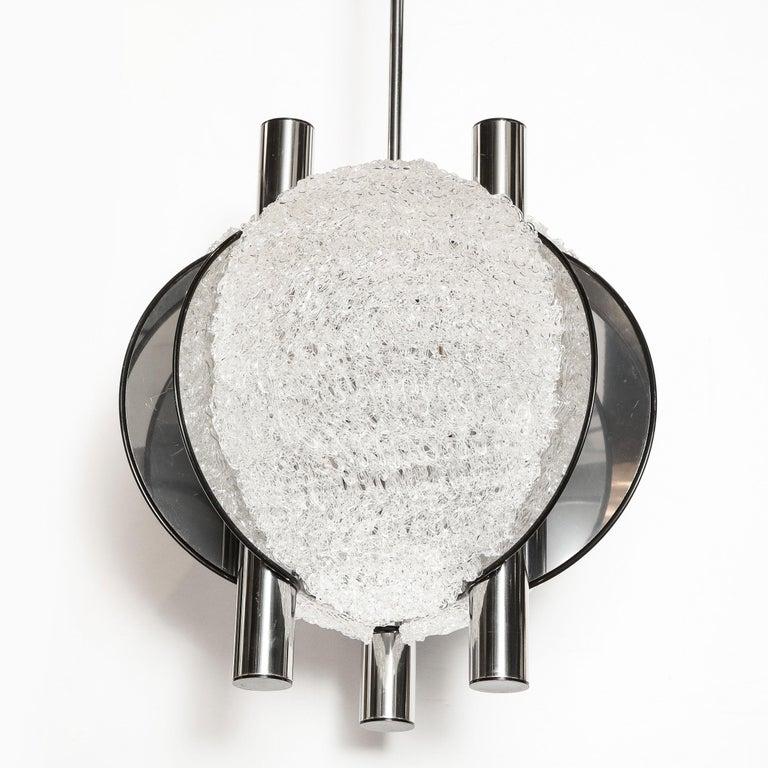 Mid-Century Modern Sculptural Orbital Textured Glass and Nickel Chandelier For Sale 5
