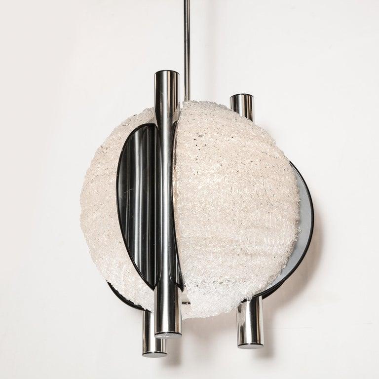 American Mid-Century Modern Sculptural Orbital Textured Glass and Nickel Chandelier For Sale