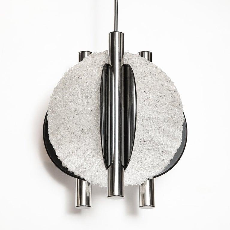 Blown Glass Mid-Century Modern Sculptural Orbital Textured Glass and Nickel Chandelier For Sale