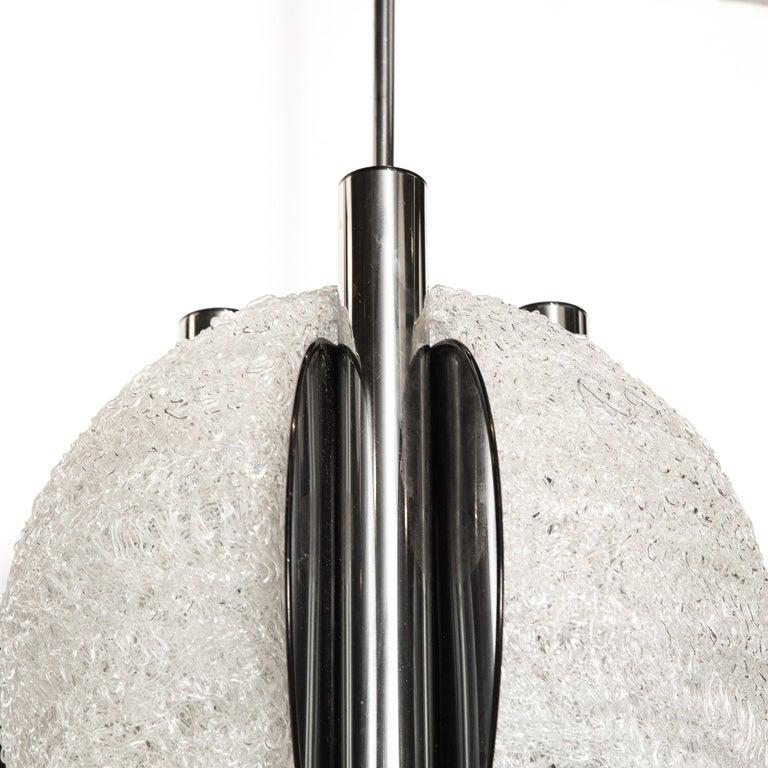 Mid-Century Modern Sculptural Orbital Textured Glass and Nickel Chandelier For Sale 2