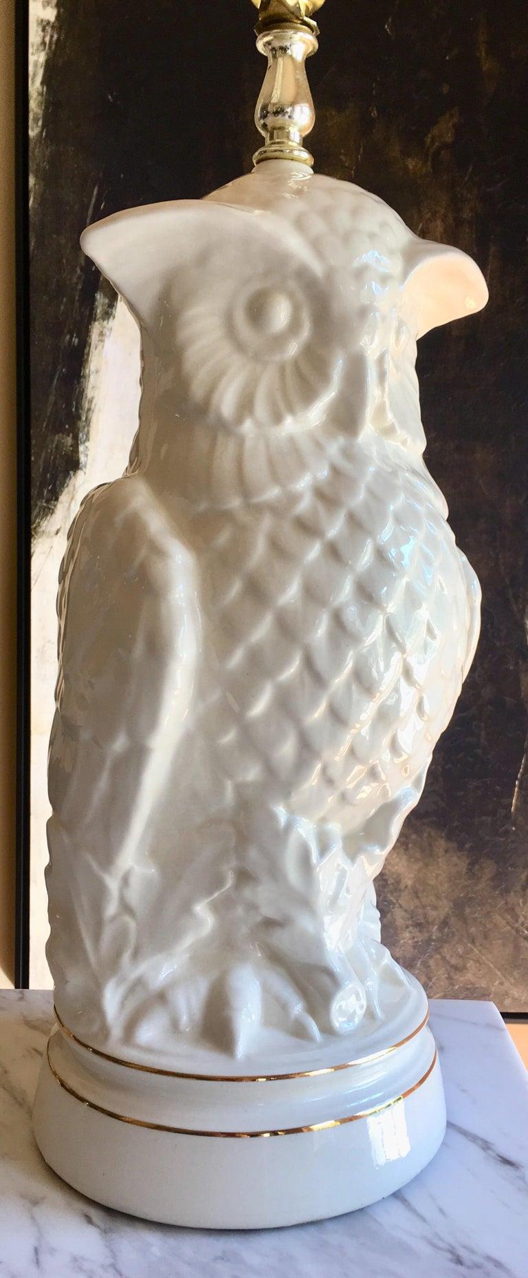 Ceramic Mid-Century Modern Sculptural Owl Table Lamp