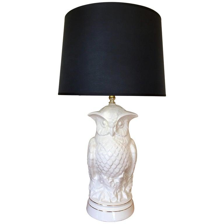 Mid-Century Modern Sculptural Owl Table Lamp