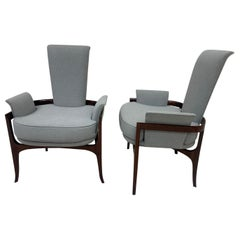 Mid-Century Modern Sculptural Pair of Walnut Chairs in the Style of James Mont
