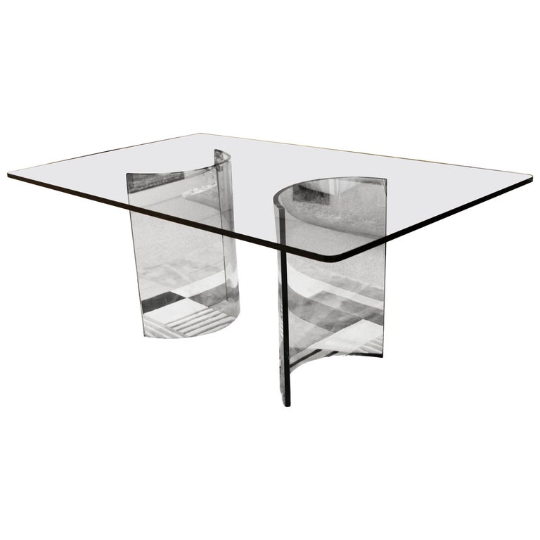 Mid-Century Modern Sculptural Rectangular Glass Dining Table Pace, 1970s