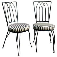 Mid-Century Modern Sculptural Salterini Style Wrought Iron Accent Striped Chairs