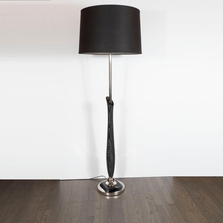 Mid-Century Modern Sculptural Silver Cerused and Brushed Aluminum Floor Lamp In Excellent Condition For Sale In New York, NY