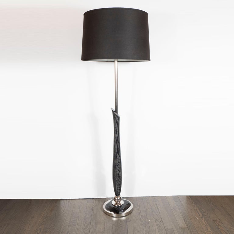 Mid-Century Modern Sculptural Silver Cerused and Brushed Aluminum Floor Lamp For Sale 4