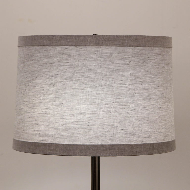 Mid-Century Modern Sculptural Silver Cerused and Brushed Aluminum Floor Lamp For Sale 7