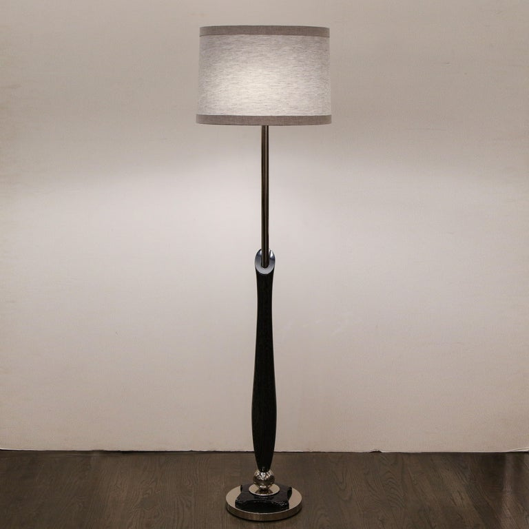 Mid-Century Modern Sculptural Silver Cerused and Brushed Aluminum Floor Lamp For Sale 8