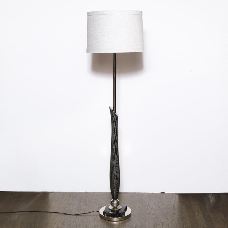 Mid-20th Century Mid-Century Modern Sculptural Silver Cerused and Brushed Aluminum Floor Lamp For Sale