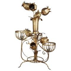 Mid-Century Modern Sculptural Tole & Iron Gold Floor Lamp Floral Jansen Style