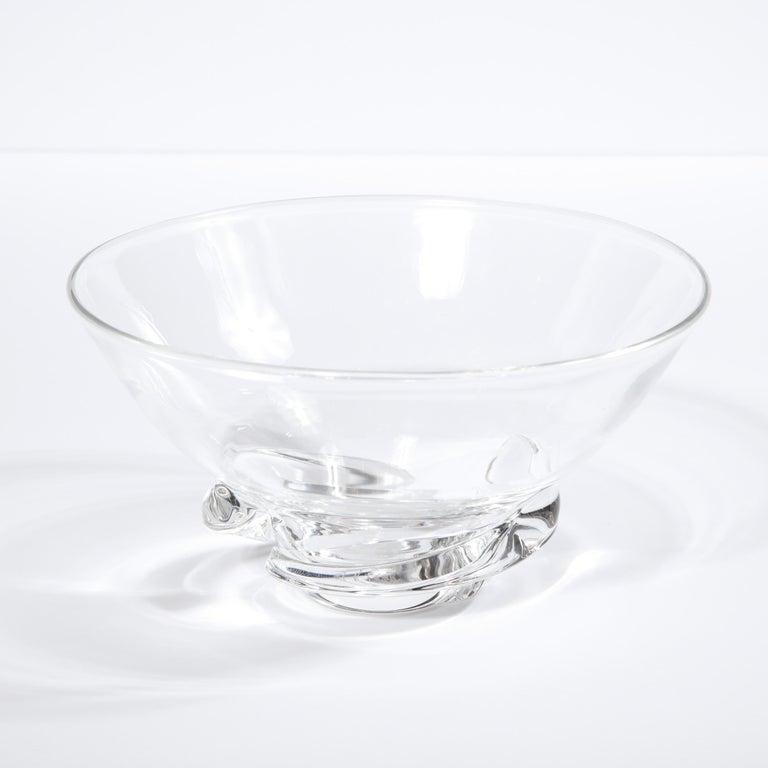 American Mid-Century Modern Sculptural Translucent Bowl Signed Steuben For Sale
