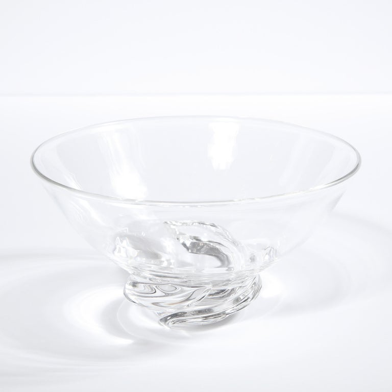 Mid-Century Modern Sculptural Translucent Bowl Signed Steuben In Excellent Condition For Sale In New York, NY