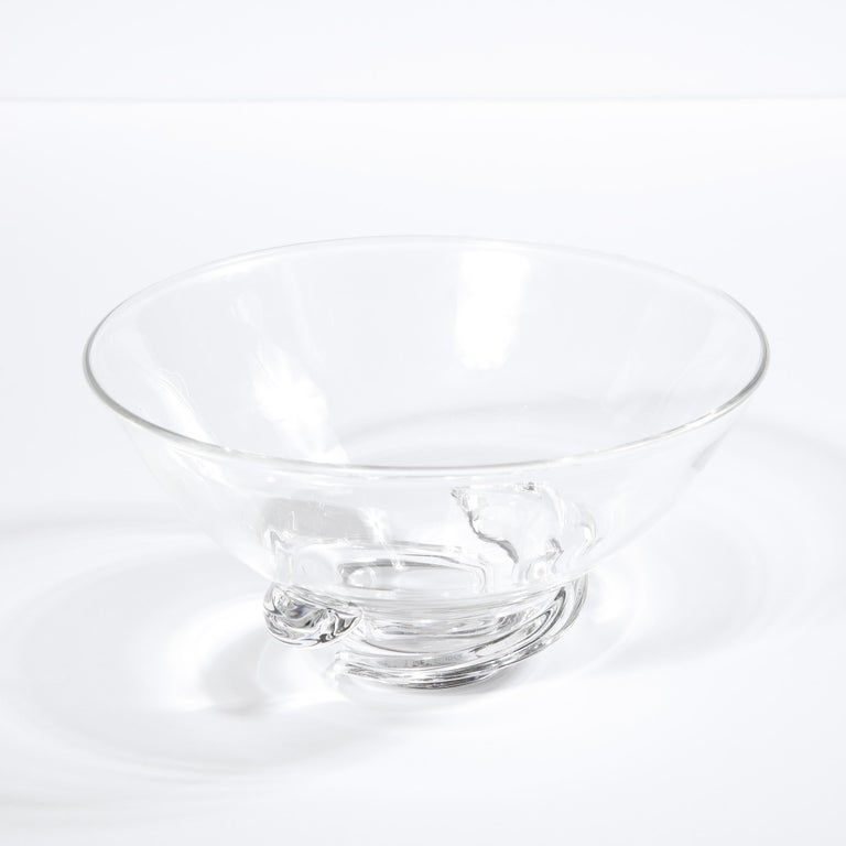 Mid-20th Century Mid-Century Modern Sculptural Translucent Bowl Signed Steuben For Sale