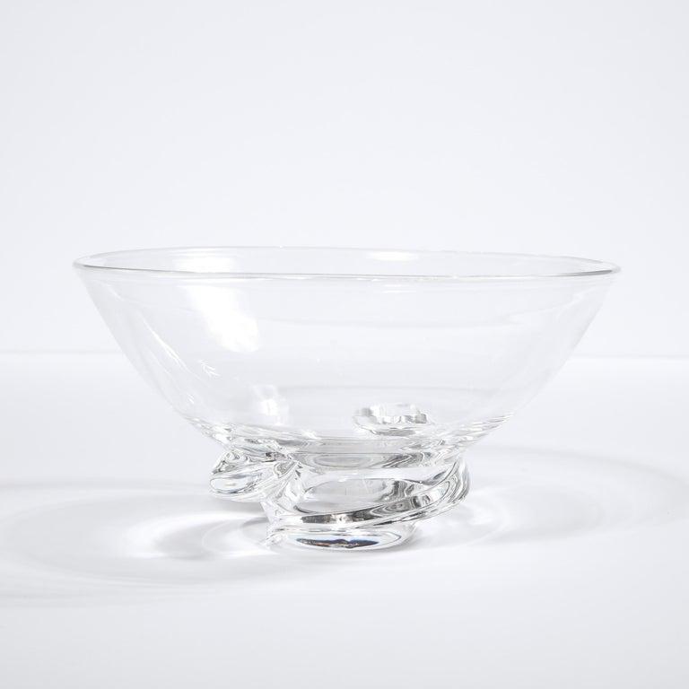 Blown Glass Mid-Century Modern Sculptural Translucent Bowl Signed Steuben For Sale