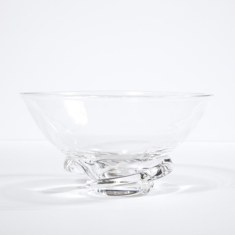 Mid-Century Modern Sculptural Translucent Bowl Signed Steuben For Sale 1