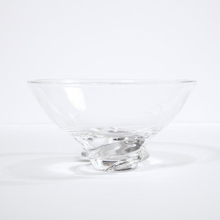 Mid-Century Modern Sculptural Translucent Bowl Signed Steuben For Sale 2