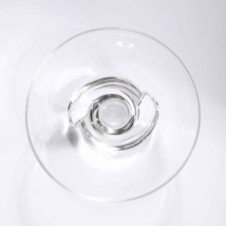 Mid-Century Modern Sculptural Translucent Bowl Signed Steuben For Sale 3
