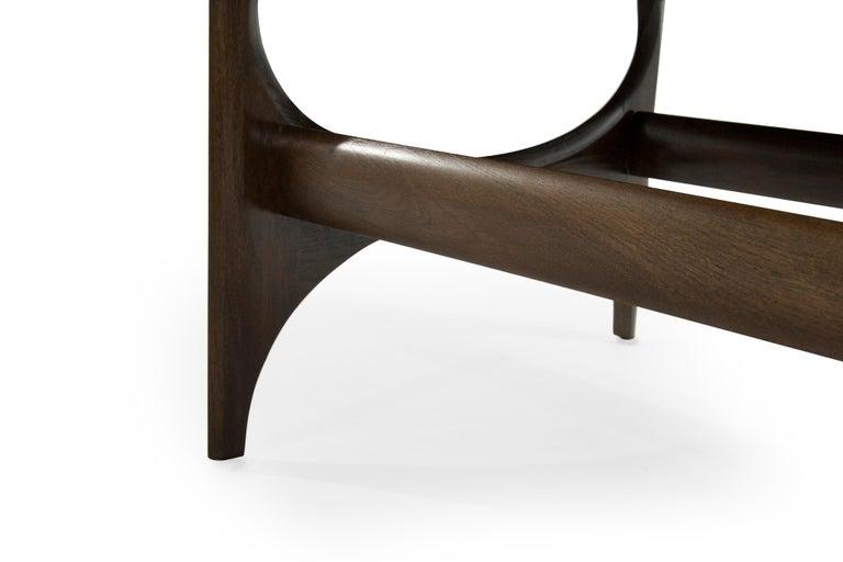 Mid-Century Modern Sculptural Walnut Bench For Sale 2