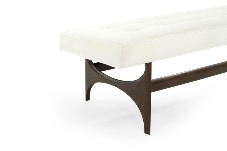Mid-Century Modern Sculptural Walnut Bench For Sale 3
